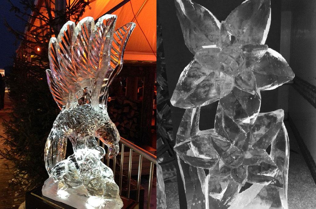 Eis Skulpturen mit Blumen vom Künstler Azuma Makato